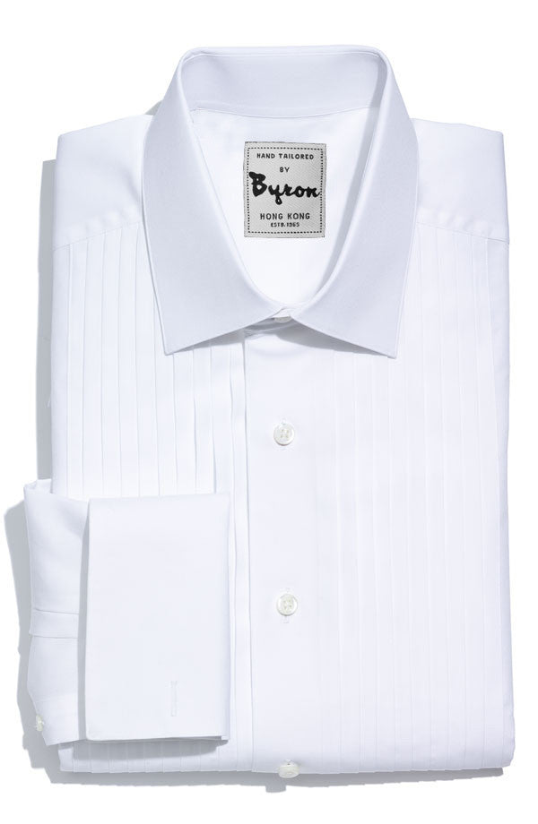 Classic Tuxedo Shirt, Pleated Front, Wide Spread Collar with French Cuffs