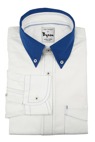White Herringbone Shirt with Royal Blue Collar and Blue Stitching
