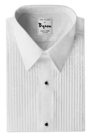 White Pleated Tuxedo Shirt, with stud buttons