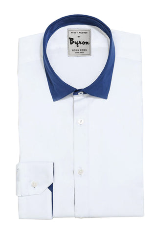 White Shirt, Royal Blue English Spread Collar with Royal Blue Trim Cuff
