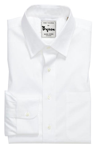 White Solid Shirt, Forward Point Collar, Angled Cuff, Wrinkle Free