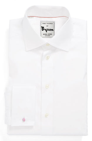 White Solid Shirt Medium Spread Collar, French Cuff