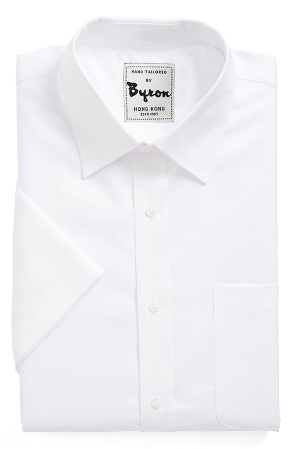 White Solid Shirt, Medium Spread Collar, Short Sleeve