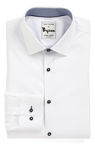 White Solid Shirt, with Grey Trim, Round 2 Button Cuff, Forward Point Collar