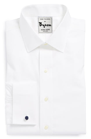 White Solid Shirt, Plain Front, French Cuff