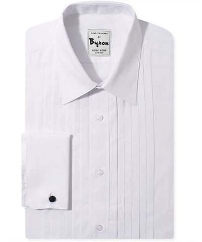 Classic Tuxedo Shirt Forward Point Collar Pleated Front with French Cuff