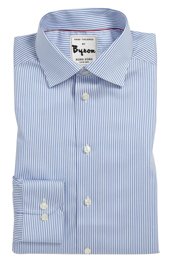 White and Blue Calm Thin Striped Shirt
