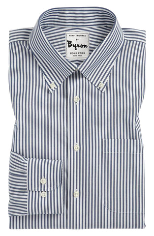 White and Blue Chinoise Striped Shirt, Button Dowan Collar, Rounded Cuff
