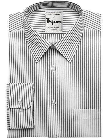 White and Dk Grey Striped Shirt