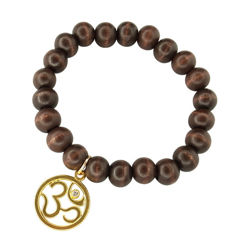 Wooden Bead Bracelet with gold plated charm