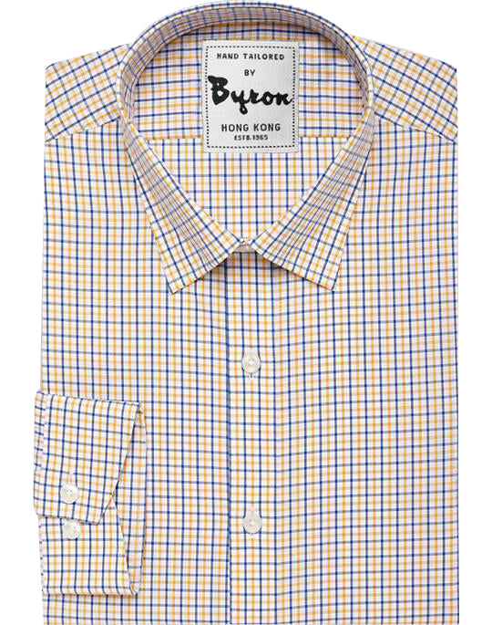 Yellow & Royal Blue Gingham Shirt, Hidden Button Down Collar, Standard Cuff