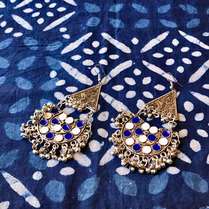 Blue & White Earrings, Bohemian Earrings at The Hues of India
