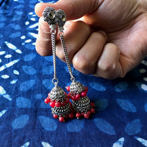 Coral Bead Jhumka Earrings, Bohemian earrings at The Hues of India