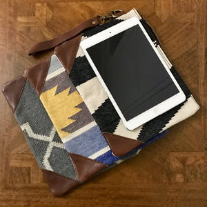 Black & White Dhurrie Clutch / iPad mini case