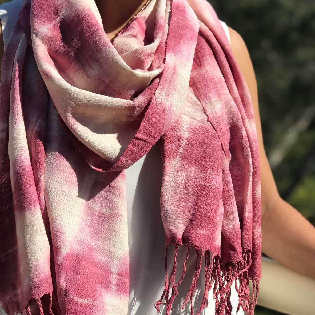 Red tie-dye Eri Silk / Ahimsa Silk / Peace/ Pure Silk handwoven 100 % natural fibre eco friendly sustainable Scarf