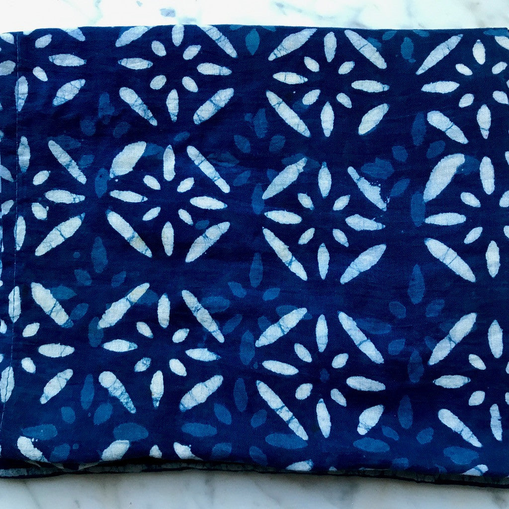 handmade block-printed indigo eco-friendly scarf or scarves or fabric or textiles