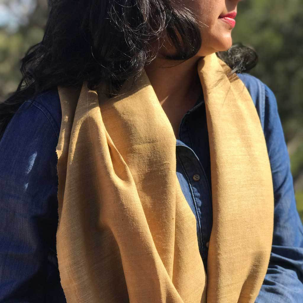 Marigold Eri Silk / Ahimsa Silk / Peace Silk handwoven 100 % natural fibre eco friendly Scarf