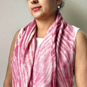 Pink tie-dye Eri Silk / Ahimsa Silk / Peace/ Pure Silk handwoven 100 % natural fibre eco friendly sustainable Scarf