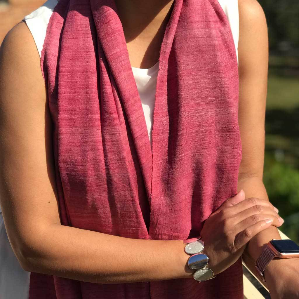 Rose Pink Eri Silk / Ahimsa Silk / Peace/ Pure Silk handwoven 100 % natural fibre eco friendly sustainable Scarf