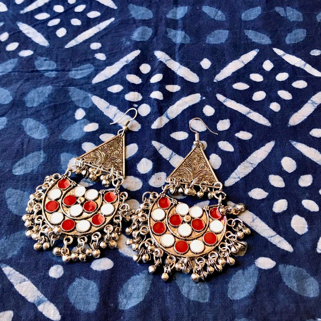 Red & White Earrings, Bohemian earrings_ The Hues of India