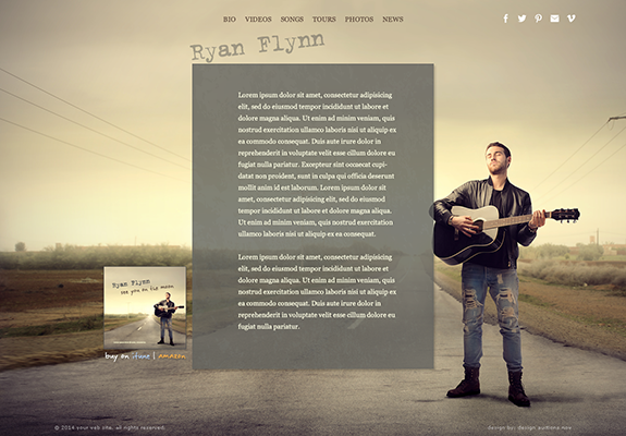 Web Design: Musician Performer Portfolio Website on Wordpress