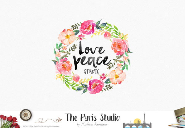 Floral Wreath Watercolor Logo Design