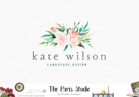 Watercolor Floral Bouquet Logo: DIY Instant Logo Design