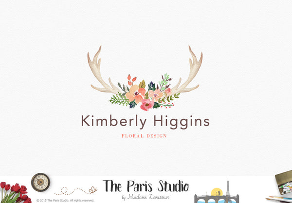 Rustic Watercolor Floral Antler Logo Design