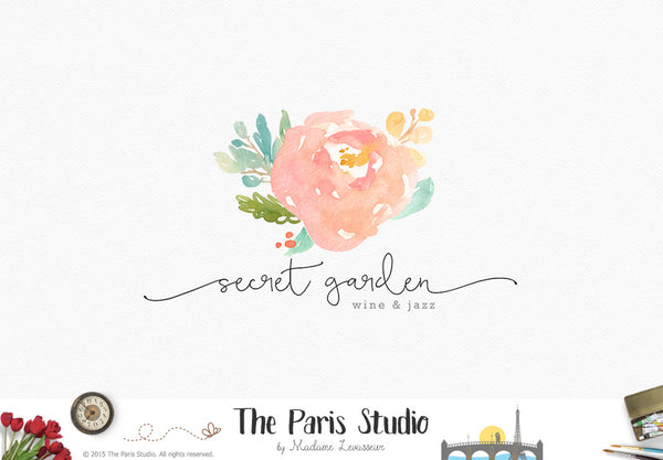 Floral Bouquet Watercolor Logo Design
