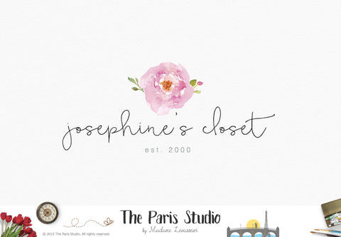 Watercolor Flower Logo Design: DIY Instant Logo Design