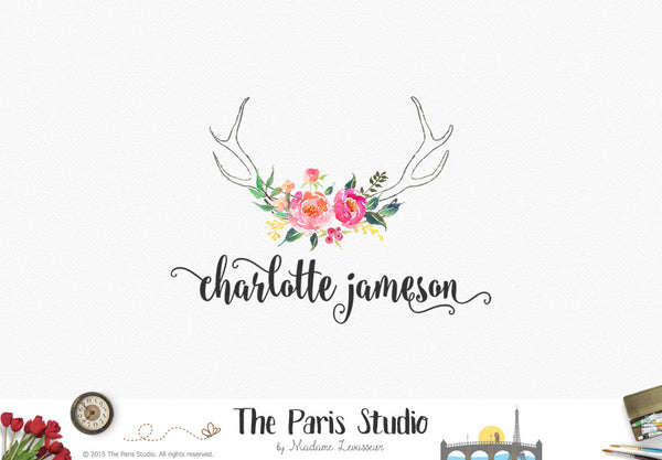 Modern Watercolor Floral Antler Logo Design