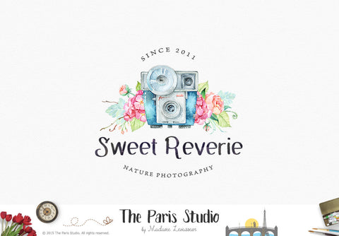 Watercolor Camera Logo Design - DIY Instant Logo Design