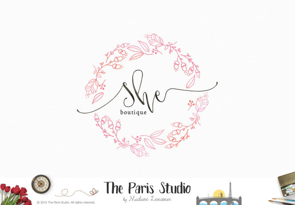 Hand Drawn Watercolor Floral Wreath Logo Design