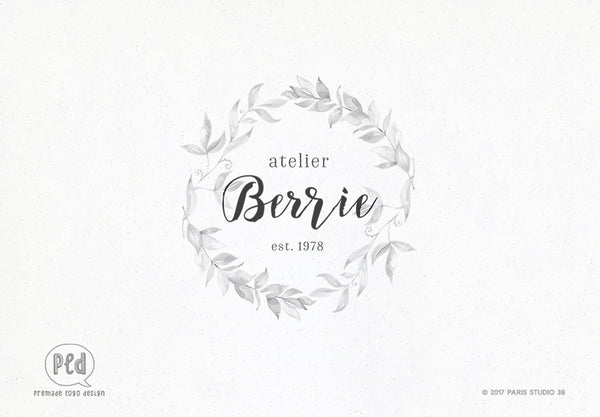 Watercolor Hand Drawn Wreath Logo Design