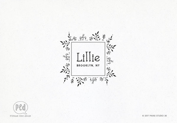 Hand Drawn Style Square Floral Frame Logo Design