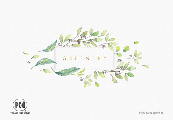 Watercolor Floral Frame Logo Design