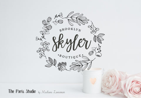 Hand Drawn Floral Wreath Logo Design Pay As You Go Custom Logo Design