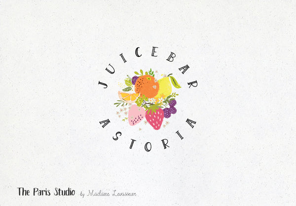 Hand Drawn Style Fruits Logo Design