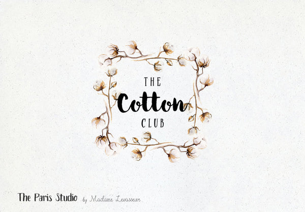 Floral Watercolor Cotton Flower Logo Design