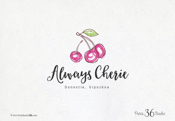 Hand Drawn Style Fruits (Cherry) Logo Design