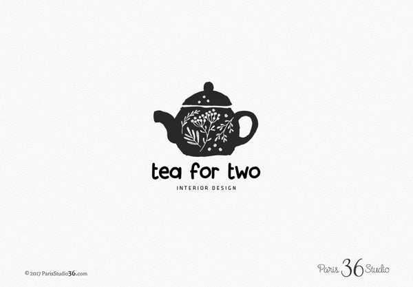 Hand Drawn Style Floral Vintage Tea Pot Logo Design