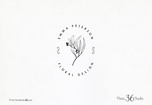 Hand Drawn Doodle Floral Badge Logo Design