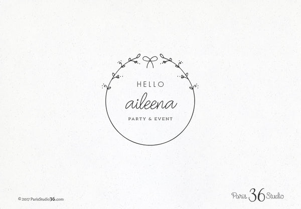 Hand Drawn Style Floral Wreath Logo Design