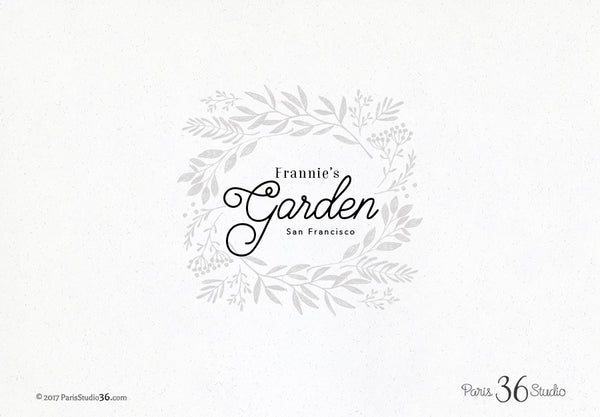 Hand Drawn Floral Decorative Frame Logo Design