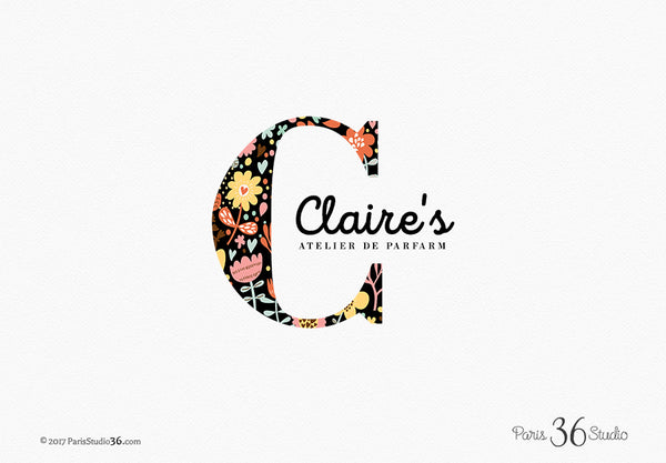 Floral Pattern Monogram Logo Design
