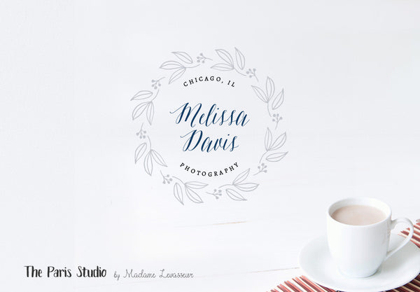 Hand Drawn Style Wreath Photography Logo Design