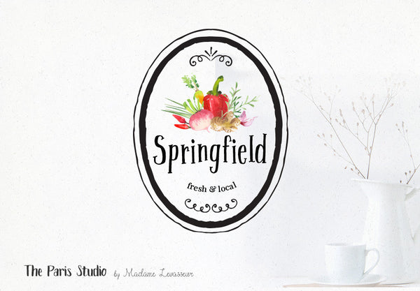 Vintage Watercolor Veggie Badge Logo Design
