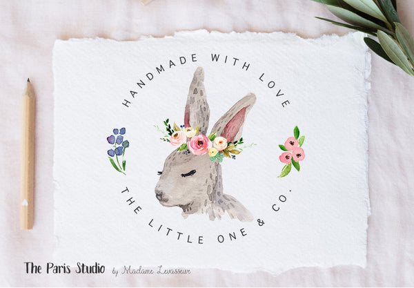 Easter Bunny Floral Watercolor Wreath Logo Design