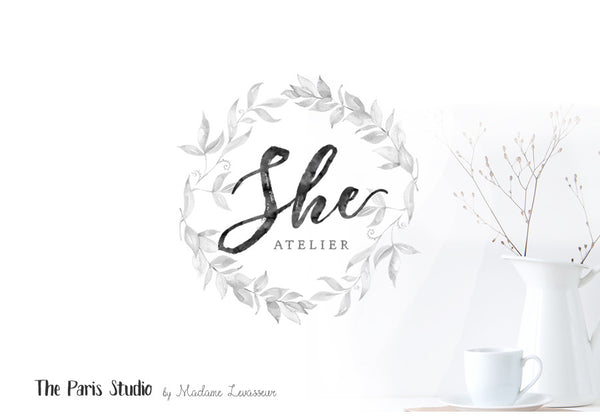 Watercolor Wreath Boutique Logo Design