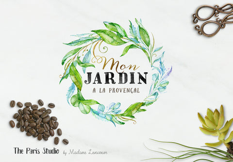 Watercolor Leafy Foliage Wreath Logo Design